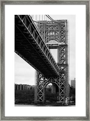 Little Red Lighthouse Beneath The George Washington Bridge Hudson River New York Nyc Framed Print by Joe Fox