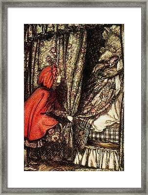 Little Red Riding Hood Framed Print by Arthur Rackham