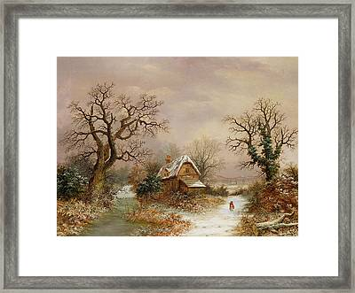 Little Red Riding Hood In The Snow Framed Print by Charles Leaver