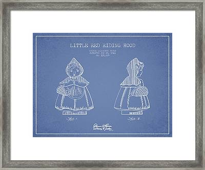 Little Red Riding Hood Patent Drawing From 1943 - Light Blue Framed Print by Aged Pixel
