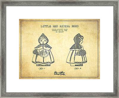 Little Red Riding Hood Patent Drawing From 1943 - Vintage Framed Print by Aged Pixel