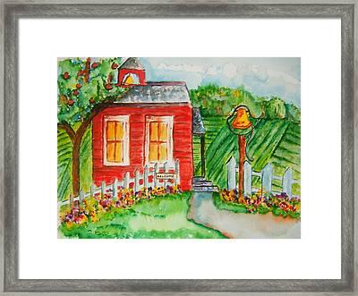 Little Red Schoolhouse Framed Print by Elaine Duras