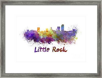 Little Rock Skyline In Watercolor Framed Print by Pablo Romero