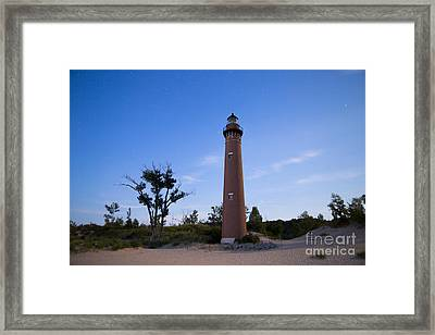 Little Sable Lighthouse By Moonlight Framed Print by Twenty Two North Photography