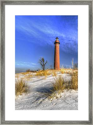 Little Sable Lighthouse Winter Framed Print by Twenty Two North Photography