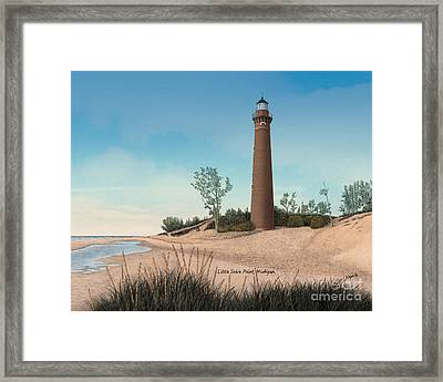Little Sable Point Lighthouse Titled Framed Print by Darren Kopecky