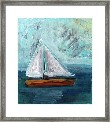 Little Sailboat- Expressionist Painting Framed Print by Linda Woods