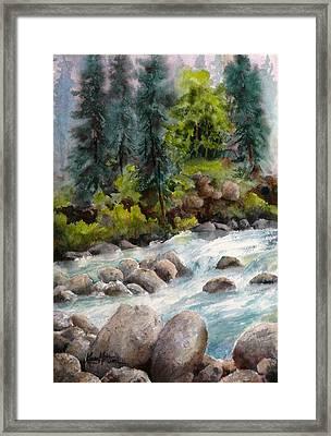 Little Susitna River Rocks Framed Print by Karen Mattson