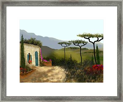 Little Villa Of Tuscany Framed Print by Larry Cirigliano