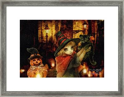 Little Witch Black Cat And Pumpkin Framed Print by Mo T