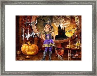 Little Witch Framed Print by Mo T