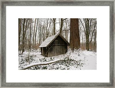 Little Wooden Hood In The Forest In Winter Framed Print by Matthias Hauser