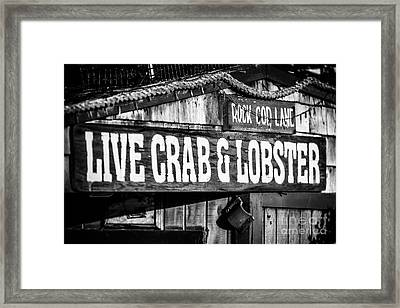 Live Crab And Lobster Sign On Dory Fish Market Framed Print by Paul Velgos