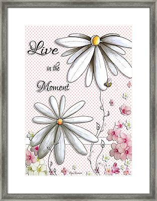 Live In The Moment Inspirational Uplifting Daisy Polkadot Art Design By Megan Duncanson Framed Print by Megan Duncanson