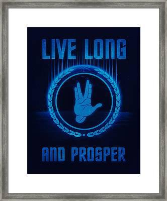 Live Long And Prosper Spock's Hand Leonard Nimoy Geek Tribut Framed Print by Philipp Rietz