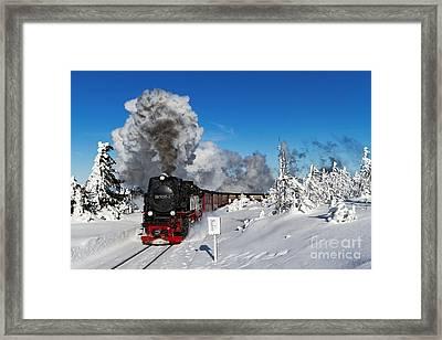Live Steam On The Brocken Mountain Framed Print by Christian Spiller