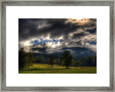 Living In The Clouds Of Western North Carolina Framed Print by Greg and Chrystal Mimbs