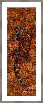 Lizard In Red Nature - Elena Yakubovich Framed Print by Elena Yakubovich