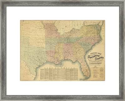 Lloyd's Railroad Map Of The Southern States - 1861 Framed Print by Sailor Keddy
