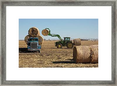 Loading Bales Of Hay Framed Print by Jim West