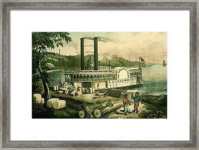 Loading Cotton On The Mississippi, 1870 Colour Litho Framed Print by N. Currier