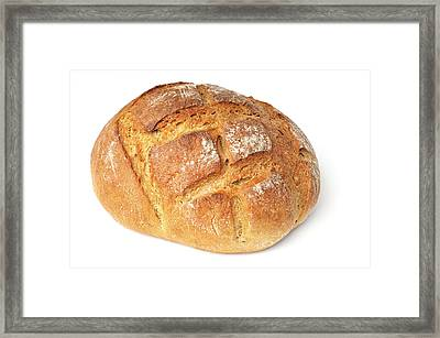 Loaf Of Bread On White Framed Print by Matthias Hauser