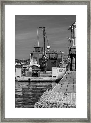 Lobster Boat At Dock Black And White Framed Print by Kirkodd Photography Of New England