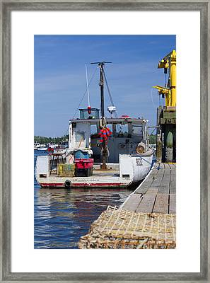 Lobster Boat At The Dock Framed Print by Kirkodd Photography Of New England