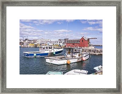 Lobster Boats In Rockport Harbor Framed Print by Andrew J. Martinez