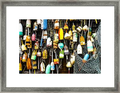 Lobster Buoys And Fishing Net Framed Print by Thomas R Fletcher