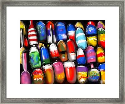 Lobster Pot Lodge Buoys Framed Print by Jean Pacheco Ravinski