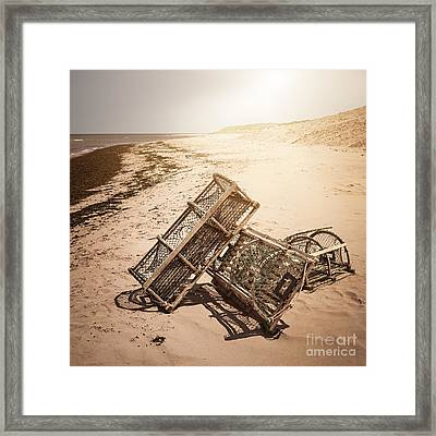 Lobster Traps On Beach Framed Print by Elena Elisseeva