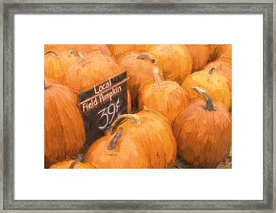 Local Field Pumpkins Painterly Effect Framed Print by Carol Leigh