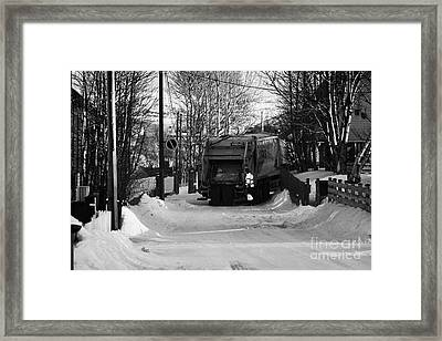 Local Waste Collection Lorry Collecting From Snow Covered Residential Street Kirkenes Finnmark Norwa Framed Print by Joe Fox