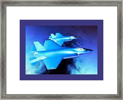Lockheed Martin F 35 Joint Strike Fighters Night Mission Medium Border Framed Print by L Brown