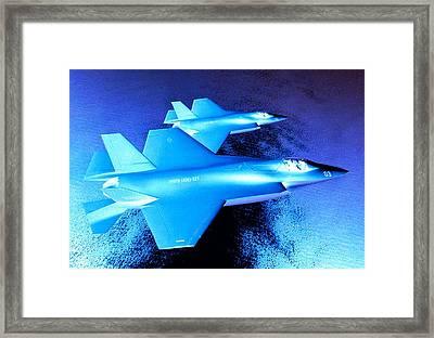 Lockheed Martin F 35 Strike Fighters Night Mission Framed Print by L Brown