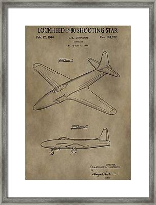 Lockheed P-80 Patent Framed Print by Dan Sproul