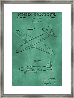 Lockheed P-80 Patent Green Framed Print by Dan Sproul
