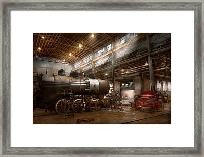 Locomotive - Locomotive Repair Shop Framed Print by Mike Savad