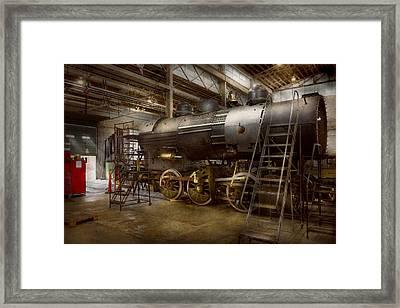 Locomotive - Repairing History Framed Print by Mike Savad
