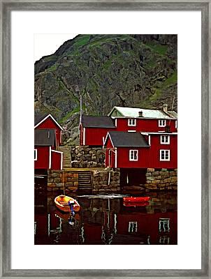 Lofoten Fishing Huts Oil Framed Print by Steve Harrington