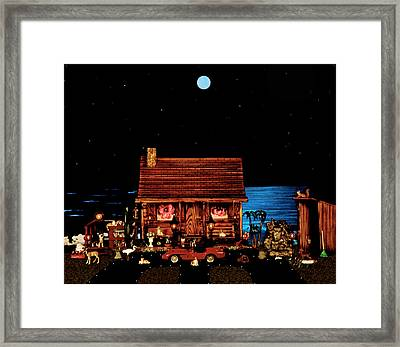 Log Cabin And Outhouse Color Scene With Old Vintage Classic 1958 Ferrari 250 Testa Rossa Framed Print by Leslie Crotty