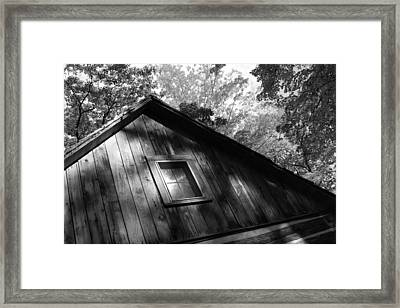 Log Cabin Bw Version Framed Print by Sheryl Burns