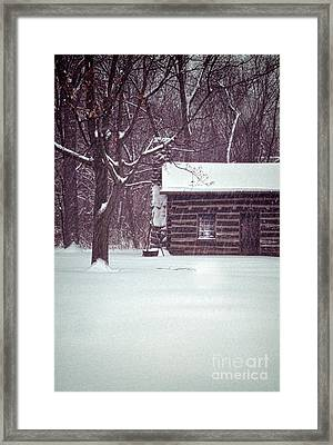 Log Cabin In Snow Framed Print by Jill Battaglia