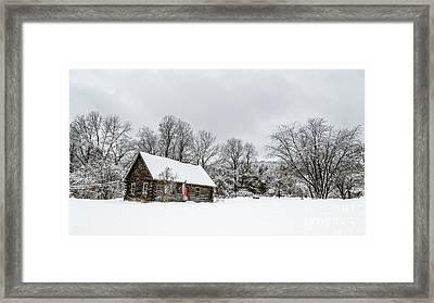 Log Cabin In The Snow Framed Print by Edward Fielding