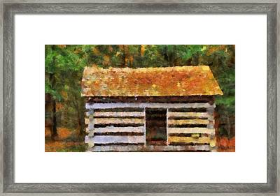 Log Cabin In The Woods Framed Print by Dan Sproul