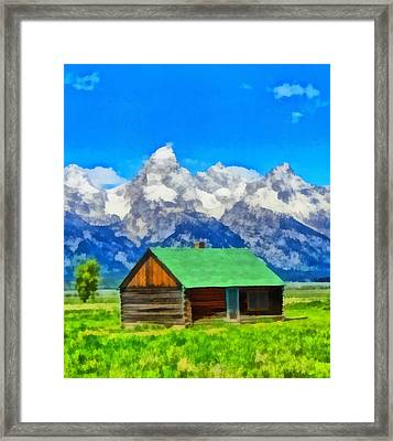 Log Cabin In Wyoming Framed Print by Dan Sproul