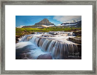Logan Pass Falls Framed Print by Inge Johnsson