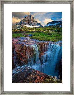 Logan Pass Sunset Framed Print by Inge Johnsson