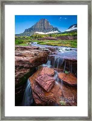 Logan Pass Waterfall Framed Print by Inge Johnsson